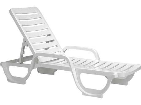Grosfillex Bahia Resin White Adjustable Chaise Lounge (Sold in 2) PatioLiving