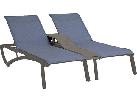 Grosfillex Sunset Sling Resin Volcanic Black Comfort Duo Chaise Lounge with Console in Madras Blue