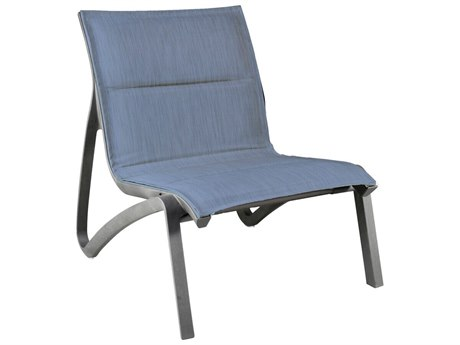 Grosfillex Sunset Sling Resin Volcanic Black Comfort Modular Lounge Chair in Madras Blue (Sold in 4)