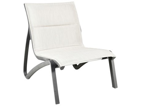 Grosfillex Sunset Sling Resin Volcanic Black Comfort Modular Lounge Chair in Beige (Sold in 4)