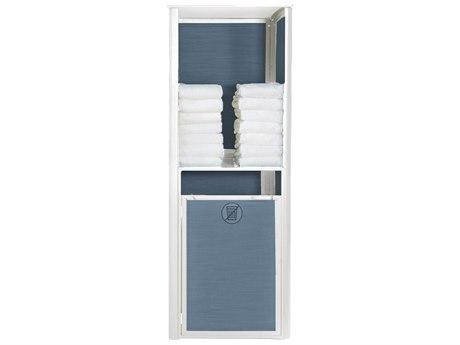 Grosfillex Sunset Sling Resin Glacier White Towel Valet Single in Madras Blue