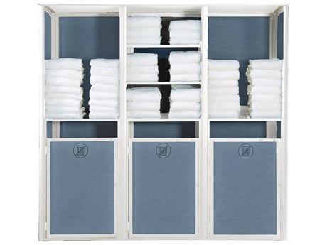 Grosfillex Sunset Sling Resin Glacier White Towel Valet Triple in Madras Blue