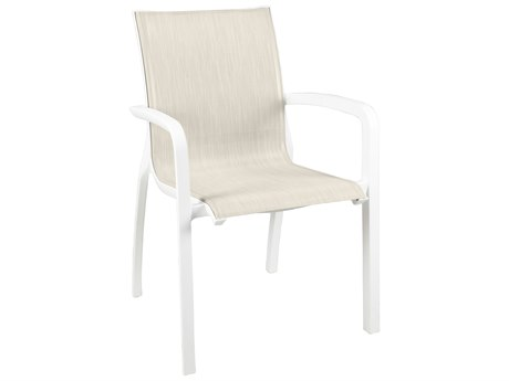 Grosfillex Sunset Sling Resin Glacier White Stacking Dining Arm Chair in Beige (Sold in 4)
