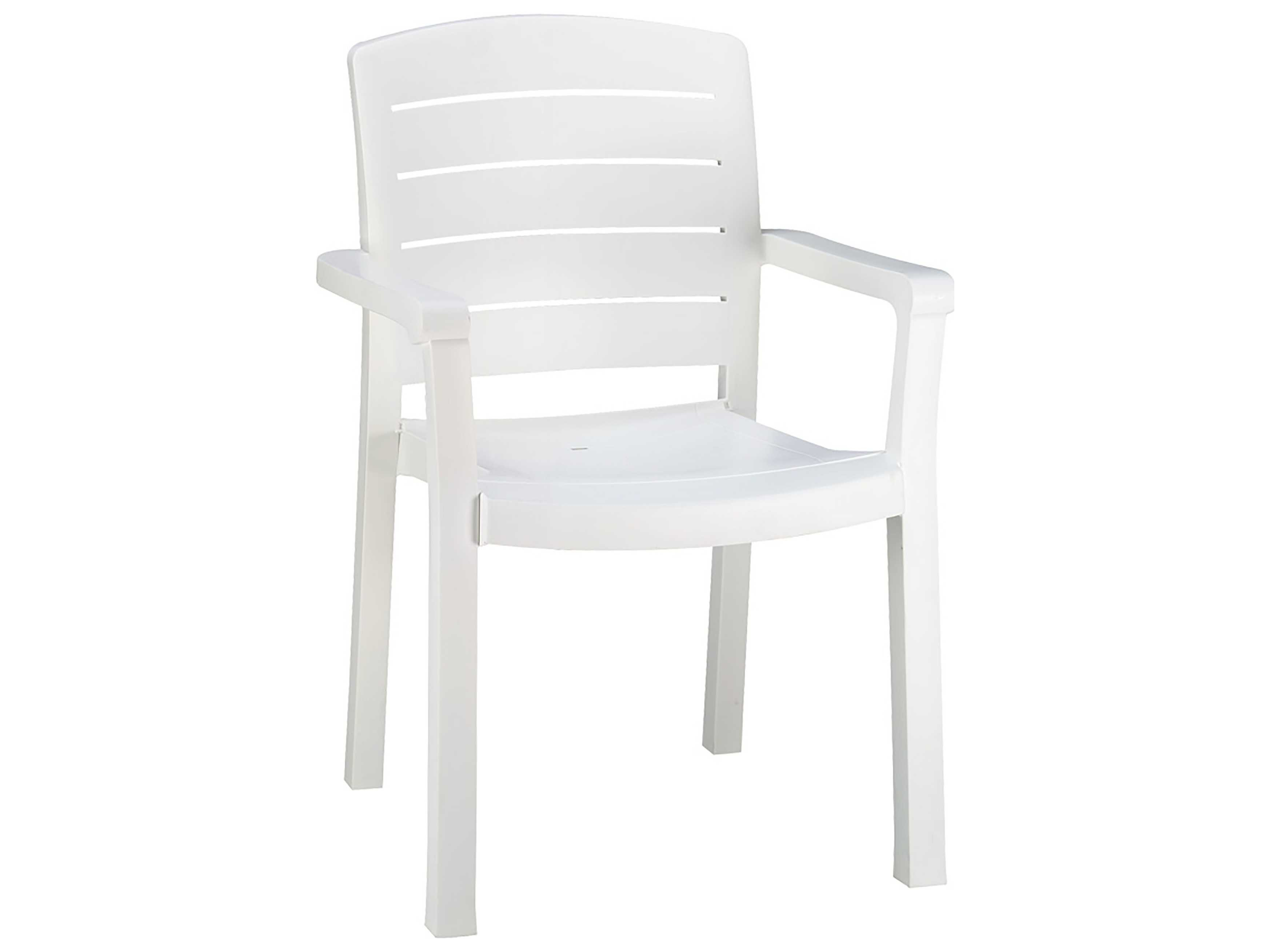 Grosfillex Acadia Resin White Stacking Dining Arm Chair Sold In 4 Gxus119004