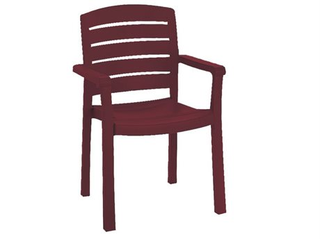Grosfillex Acadia Bordeaux Resin Stacking Armchair (Sold in 4)
