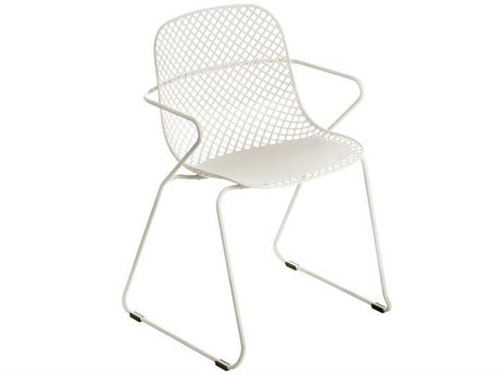 Grosfillex Ramatuelle Steel Creme Absolute '73 Dining Arm Chair (Sold in 4)