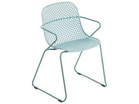 Grosfillex Ramatuelle Blue Ether Steel Cushion Dining Chair (Sold in 4)
