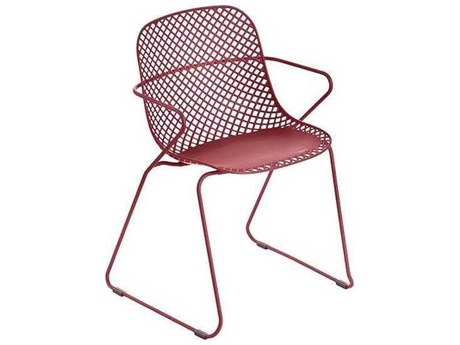 Grosfillex Ramatuelle Red Steel Cushion Dining Chair (Sold in 4)
