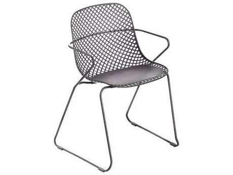 Grosfillex Ramatuelle Steel Pavement Gray Steel '73 Dining Arm Chair (Sold in 4)