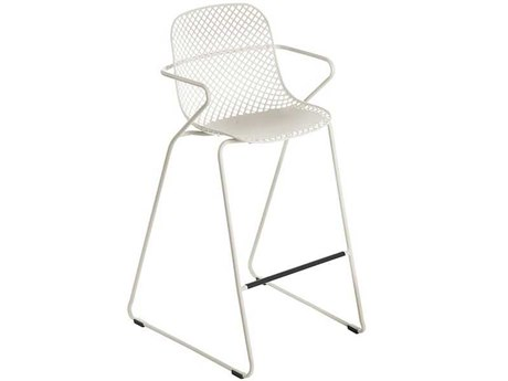 Grosfillex Ramatuelle Creme Absolute Steel Cushion Bar Stool (Sold in 2)