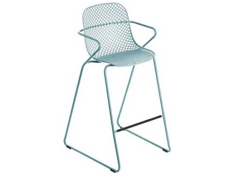 Grosfillex Ramatuelle Blue Ether Steel Cushion Bar Stool (Sold in 2)