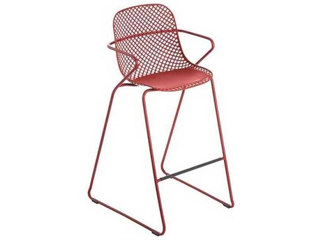 Grosfillex Ramatuelle Red Steel Cushion Bar Stool (Sold in 2)