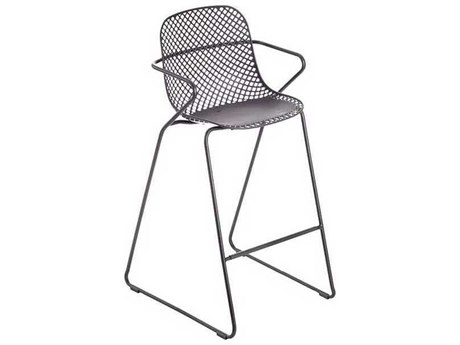 Grosfillex Ramatuelle Pavement Gray Steel Cushion Bar Stool (Sold in 2)