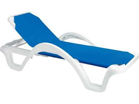 Grosfillex Catalina Sling Resin White Adjustable Chaise Lounge in Blue (Sold in 2) PatioLiving