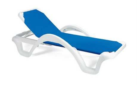 Grosfillex Catalina Resin Adjustable Sling White Chaise (Sold in 2)