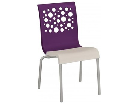 Grosfillex Tempo Aluminum Stacking Dining Side Chair in Eggplant Backrest with Linen Seat (Sold in 4)