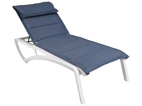 Grosfillex Sunset Sling Resin Glacier White Comfort Chaise Lounge in Madras Blue (Sold in 2)