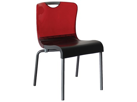 Grosfillex Krystal Aluminum Stacking Chair in Red Backrest (Sold in 4)
