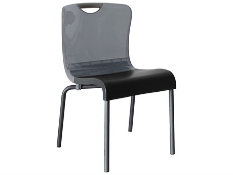 Grosfillex Krystal Aluminum Stacking Chair in Smoke Backrest (Sold in 4)