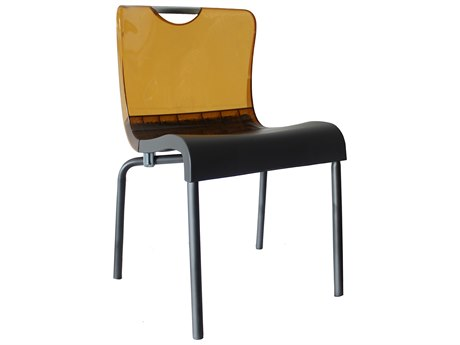 Grosfillex Krystal Aluminum Stacking Chair in Amber Backrest (Sold in 4)