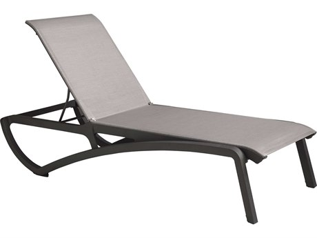 Grosfillex Sunset Solid Gray / Volcanic Black Aluminum Resin Fiberglass Sling Chaise Lounge (Sold in 2)