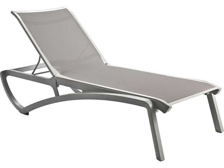 Grosfillex Sunset Solid Gray / Platinum Aluminum Resin Fiberglass Sling Chaise Lounge (Sold in 2)