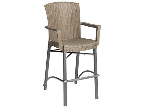 Grosfillex Havana Aluminum Wicker Classic Barstool with Armrests