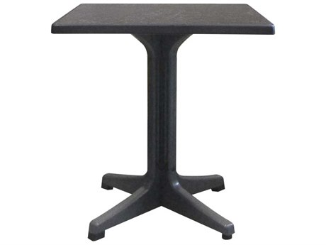Grosfillex Omega Resin Charcoal 28''Wide Square Dark Concrete Top Bistro Table