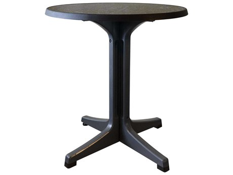 Grosfillex Omega Resin Charcoal 28''Wide Round Dark Concrete Top Bistro Table