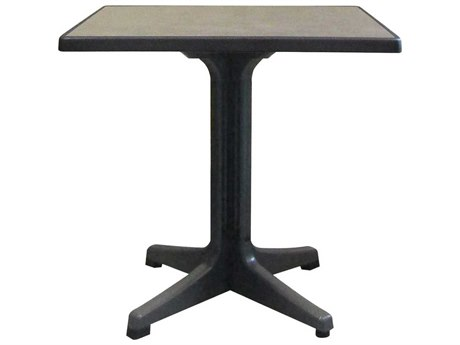 Grosfillex Omega Resin Charcoal 32'' Wide Square Brushed Top Bistro Table