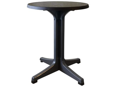 Grosfillex Omega Resin Charcoal 24''Wide Round Dark Concrete Top Bistro Table