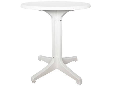 Grosfillex Omega Resin White 24''Wide Round Marble Top Bistro Table