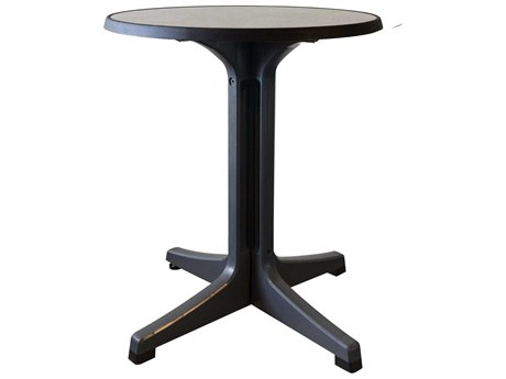 Grosfillex Omega Resin Charcoal 24''Wide Round Brushed Top Bistro Table