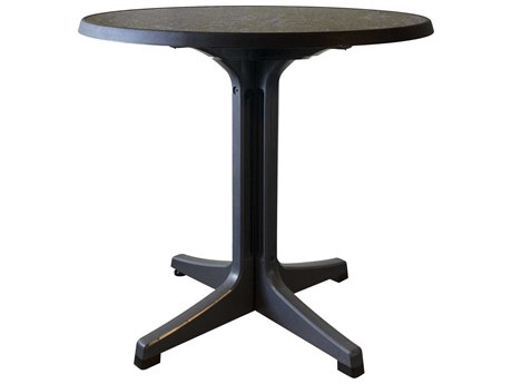 Grosfillex Omega resin Charcoal 34''Wide Round Dark Concrete Top Bistro Table