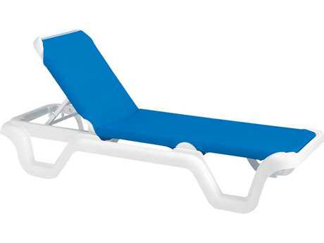 Grosfillex Marina Sling Resin White Adjustable Chaise Lounge in Blue (Sold in 2) PatioLiving
