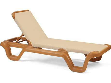 Grosfillex Marina Sling Resin Teakwood Adjustable Chaise Lounge in Khaki (Sold in 2) PatioLiving