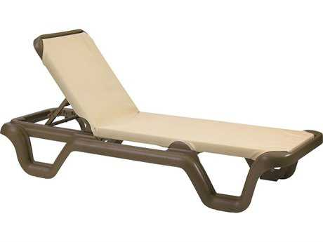 Grosfillex Marina Sling Resin Bronze Mist Adjustable Chaise Lounge in Khaki (Sold in 2) PatioLiving