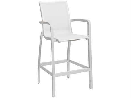 Grosfillex Sunset White Aluminum Resin Fiberglass Sling Bar Stool (Sold in 4)