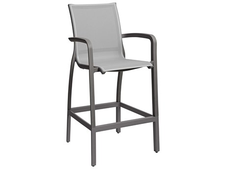 Grosfillex Sunset Solid Gray / Volcanic Black Aluminum Resin Fiberglass Sling Bar Stool (Sold in 4)