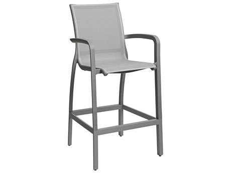 Grosfillex Sunset Solid Gray / Platinum Aluminum Resin Fiberglass Sling Bar Stool (Sold in 4)