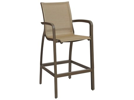 Grosfillex Sunset Cognac / Bronze Aluminum Resin Fiberglass Sling Bar Stool (Sold in 4)