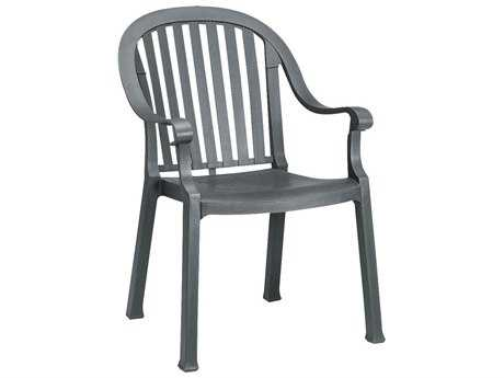 Grosfillex Colombo Resin Charcoal Stacking Dining Arm Chair (Sold in 4) PatioLiving