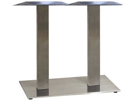 Grosfillex Gamma Steel Silver Gray 28''W x 16''D Rectangular Dining Height Lateral Table Base