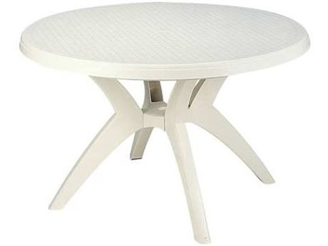 Grosfillex Ibiza Resin White 46''Wide Round Dining Table with Umbrella Hole PatioLiving