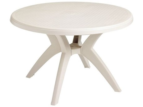 Grosfillex Ibiza Resin Sand 46''Wide Round Dining Table with Umbrella Hole PatioLiving