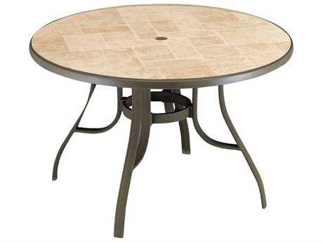 Grosfillex Toscana Aluminum Bronze Mist 48''Wide Round Toscana Top Dining Table with Umbrella Hole PatioLiving