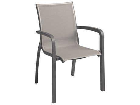 Grosfillex Sunset Solid Gray / Volcanic Black Aluminum Resin Fiberglass Sling Dining Chair (Sold in 4)