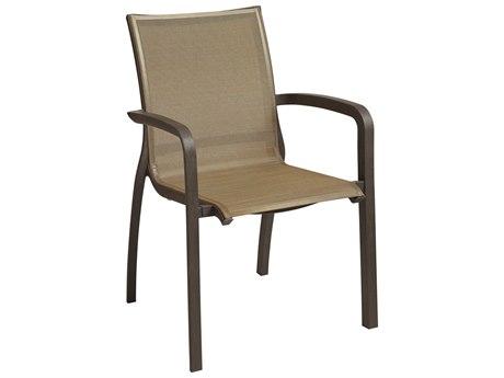 Grosfillex Sunset Cognac / Bronze Aluminum Resin Fiberglass Sling Dining Chair (Sold in 4)