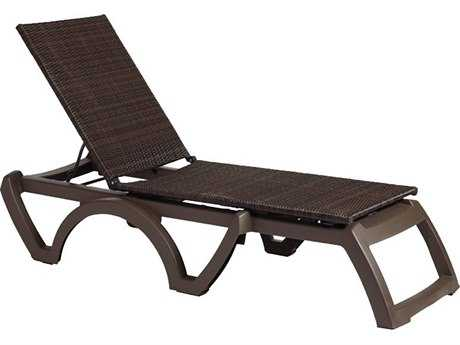 Grosfillex Java Resin Bronze Mist Adjustable Chaise Lounge in Espresso (Sold in 2) PatioLiving