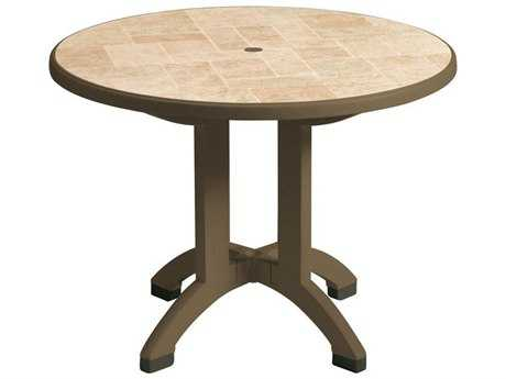 Grosfillex Siena 38 Round Resin Folding Table